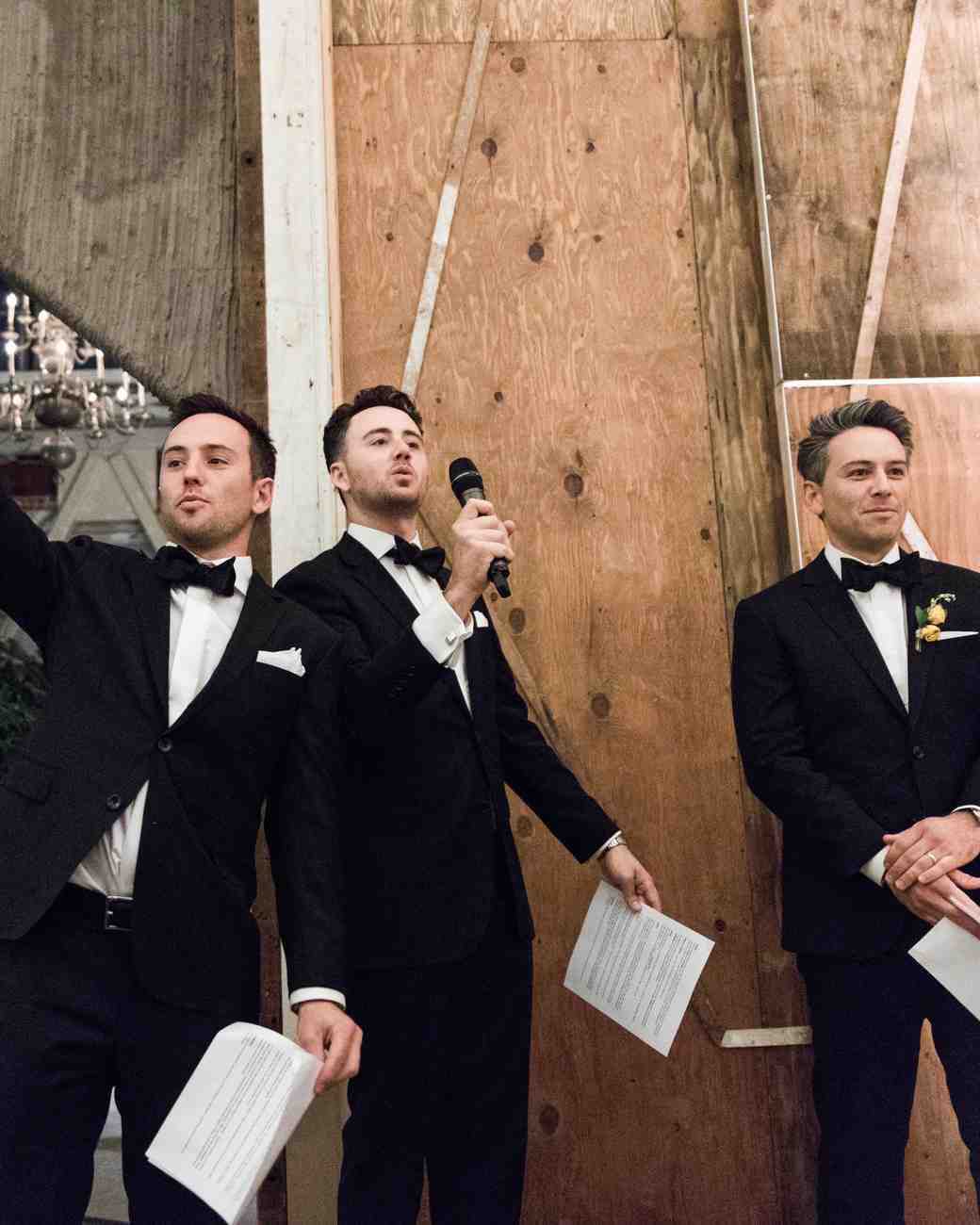 wedding three groomsman toast