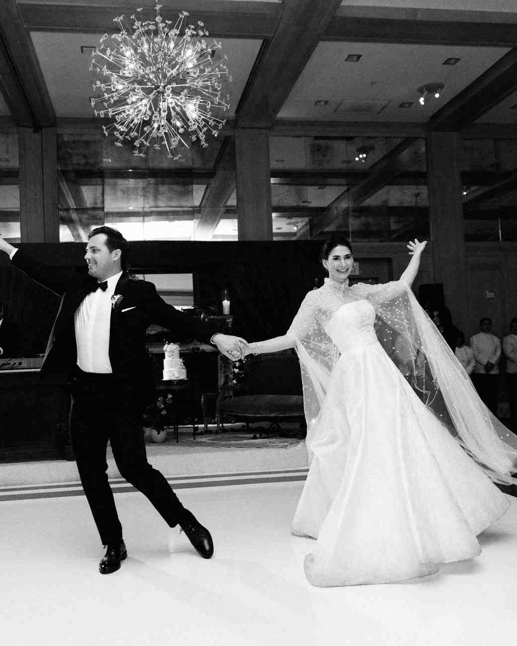 mia patrick wedding couple first dance in black and white