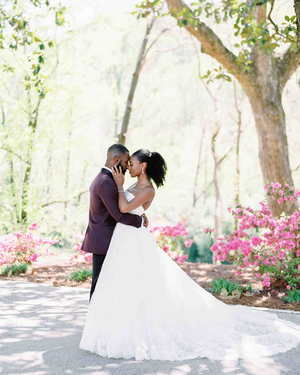 niara allen wedding couple by tree