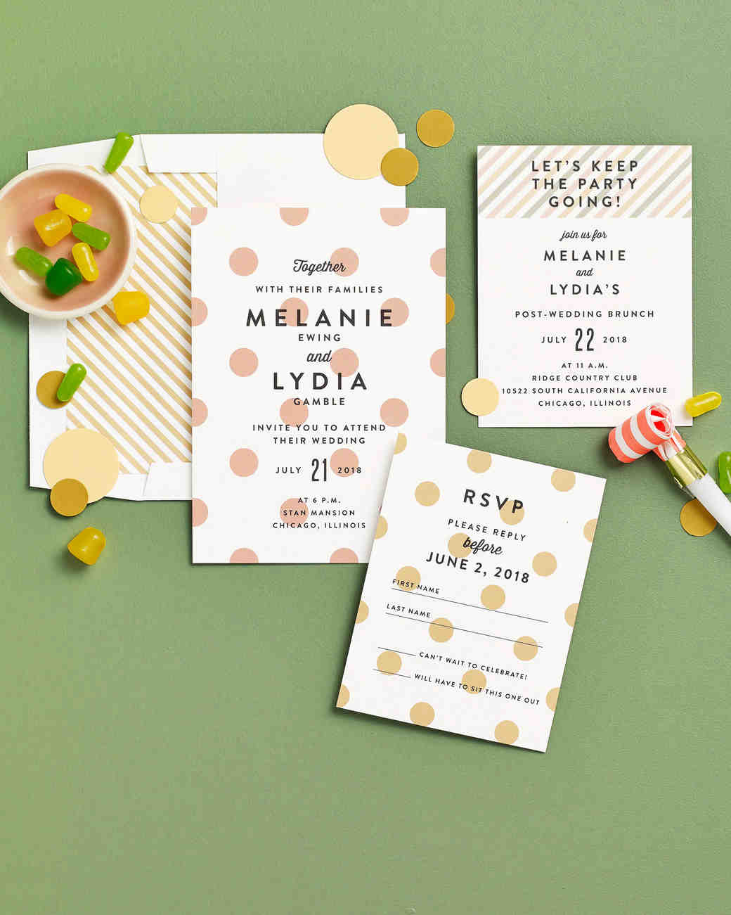 polka dot stationery suite