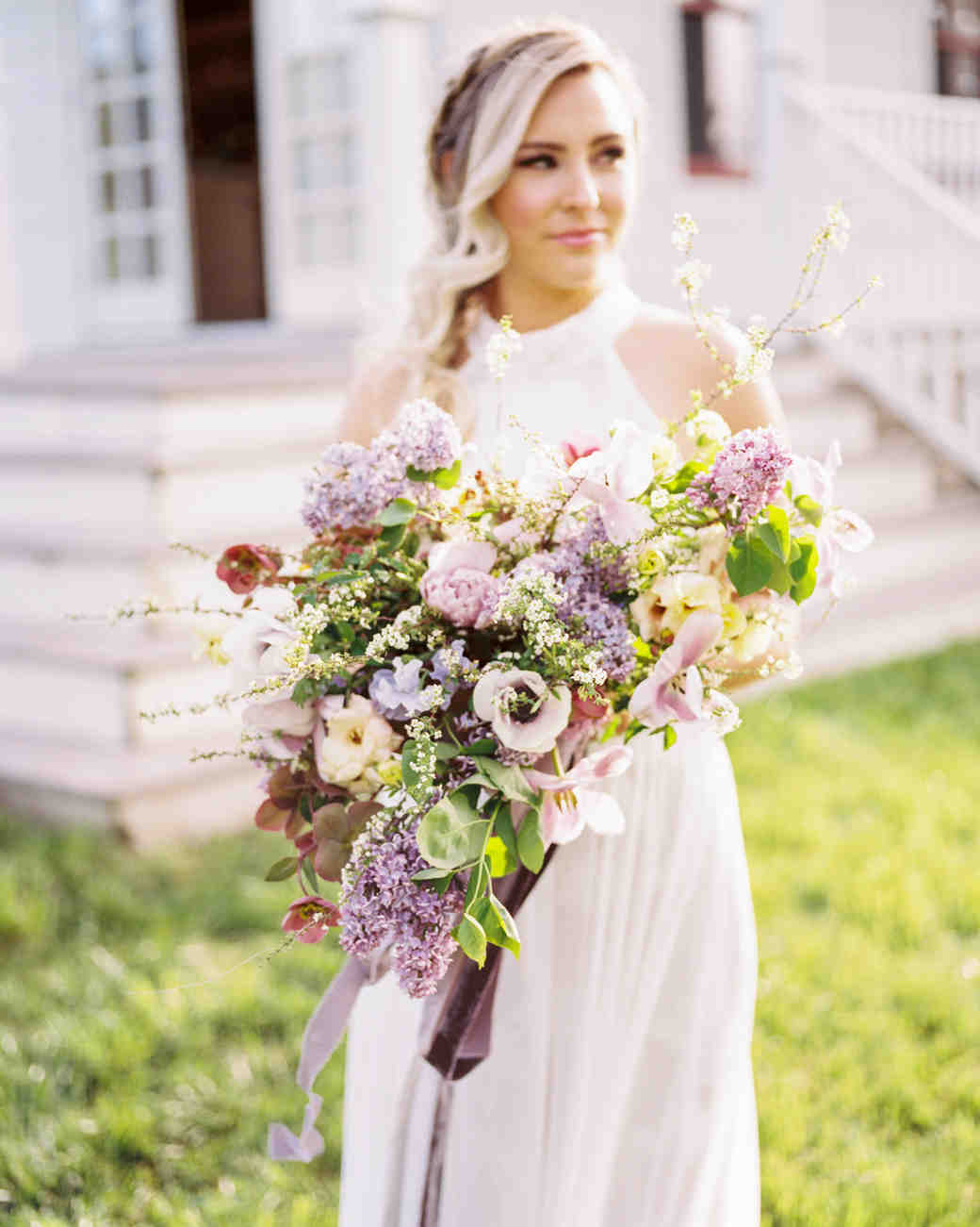 bouquet with lilacs and garden roses