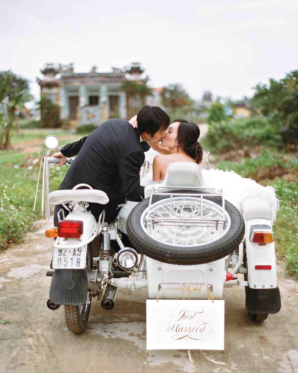 bride groom getaway motorcycle