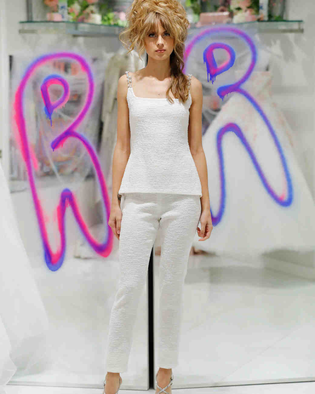 randi raum fall 2019 spaghetti strap pant dress suit