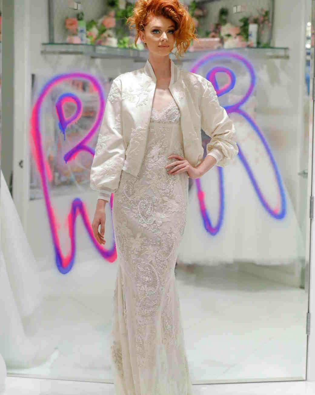 randi rahm fall 2019 fall 2019 mermaid v neck spaghetti strap beaded floral applique with bomber jacket