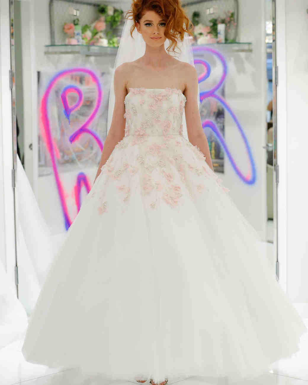 randi rahm fall 2019 ball gown strapless tea length beaded floral applique