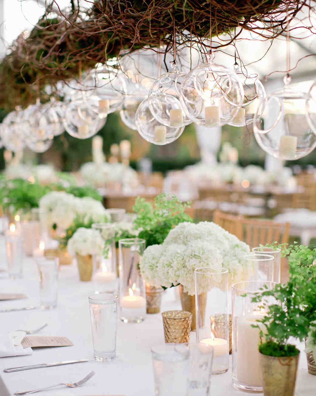 Green wedding centerpieces martha stewart weddings simply elegant arrangements junglespirit Images