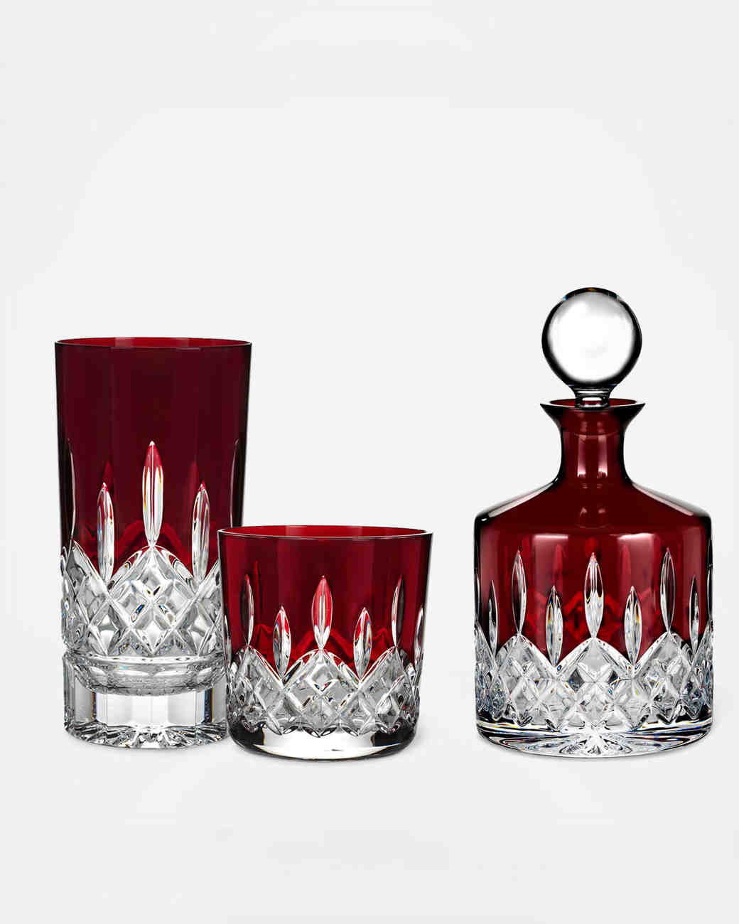 red dishware and decanter