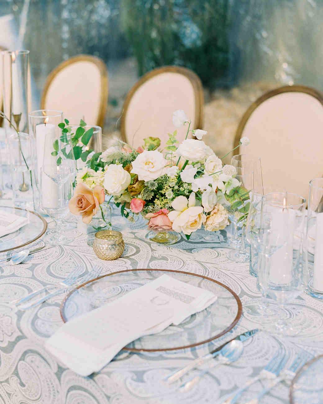 summer wedding classic centerpieces white rose floral arrangement