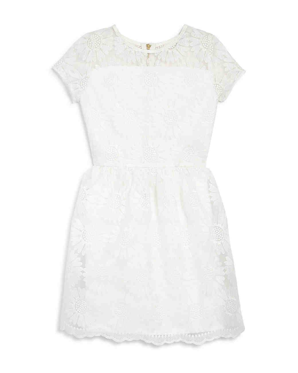 summer flower girl dress white lace illusion neckline