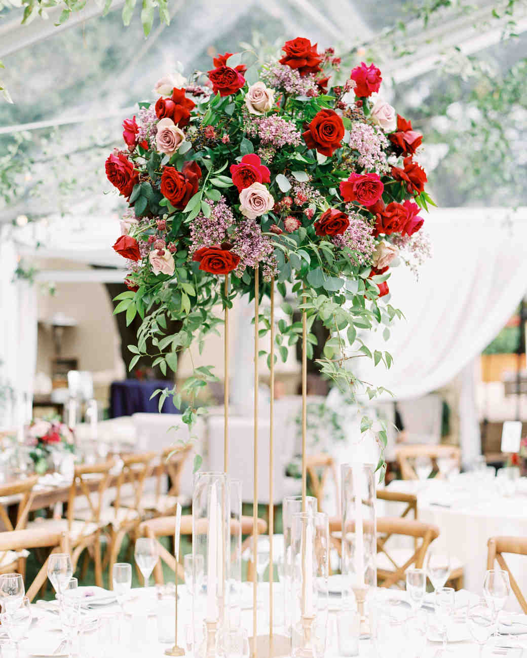 Tall Centerpiece With Red And Pink Garden Roses: High Centerpiece Wedding Rings At Websimilar.org