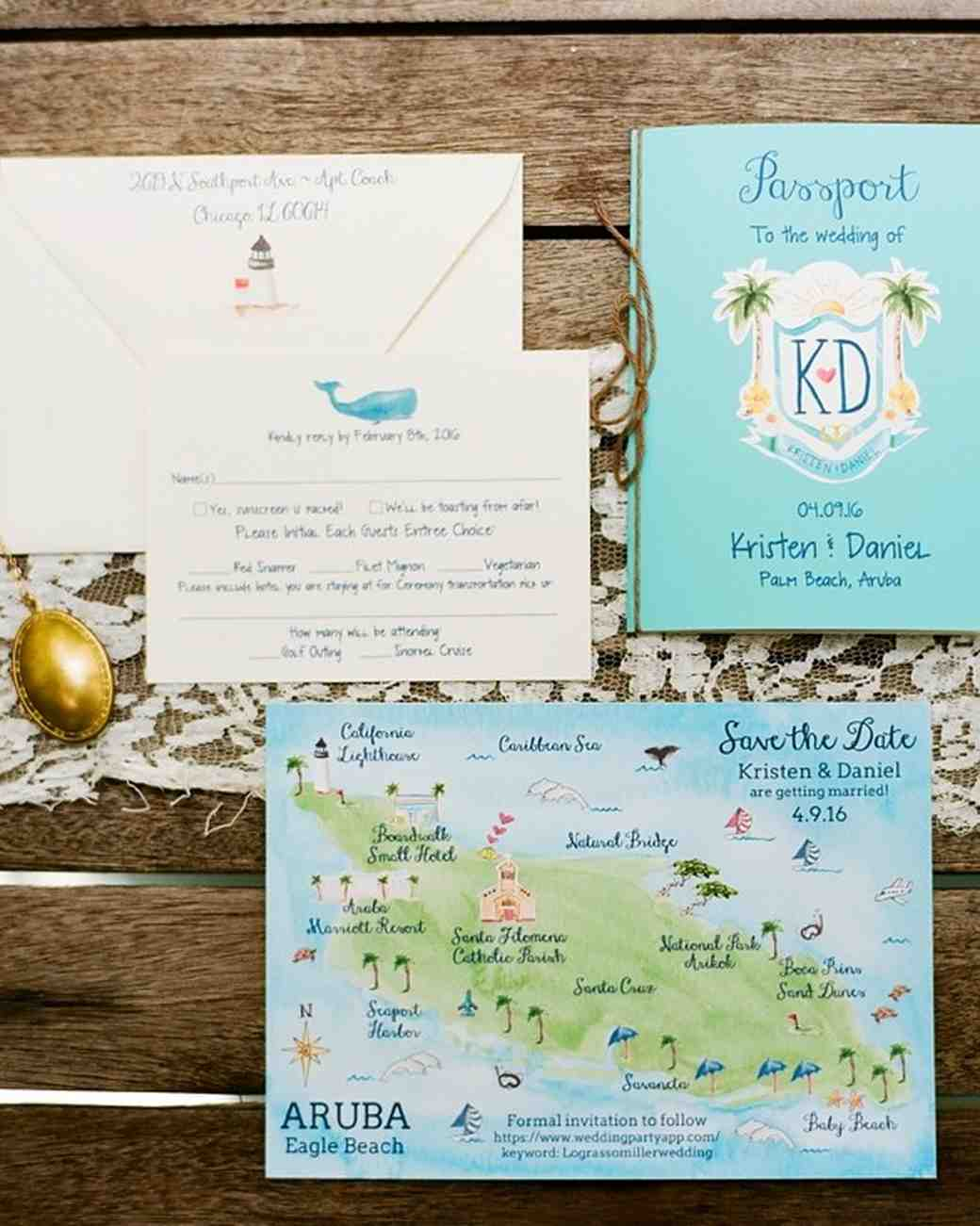 tropical getaway wedding invitation