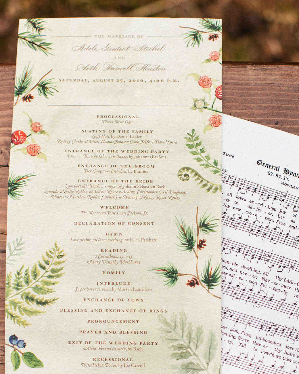adele seth wedding programs