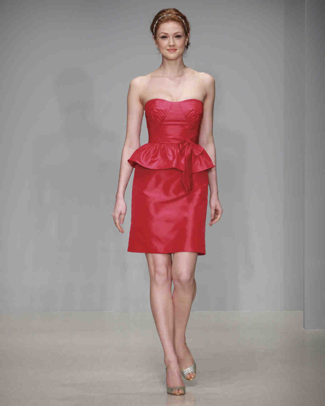 Alfred angelo spring 2013 bridesmaid collection martha stewart short red peplum bridesmaid dress ombrellifo Image collections
