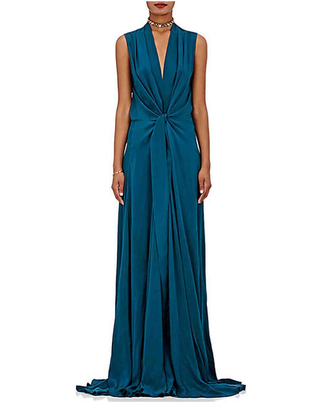 Deep Blue Sleeveless Silk Gown