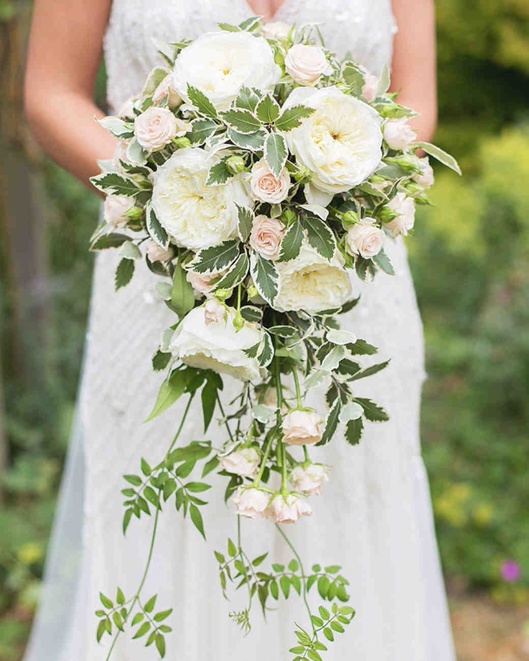 white green cascading bouquet