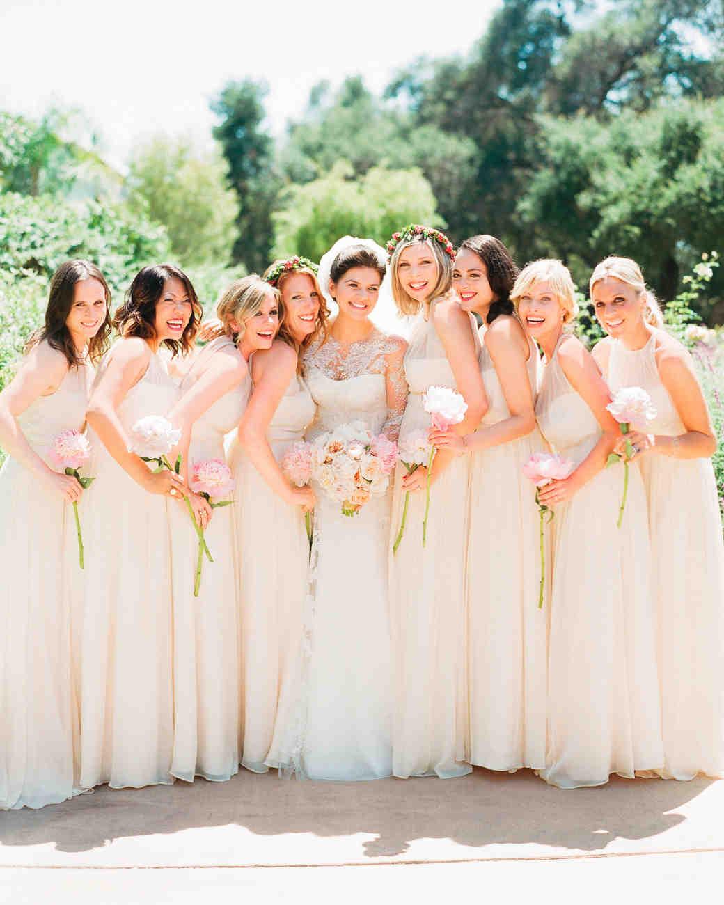Martha Brides and Bridesmaids in JCrew Dresses Martha Stewart