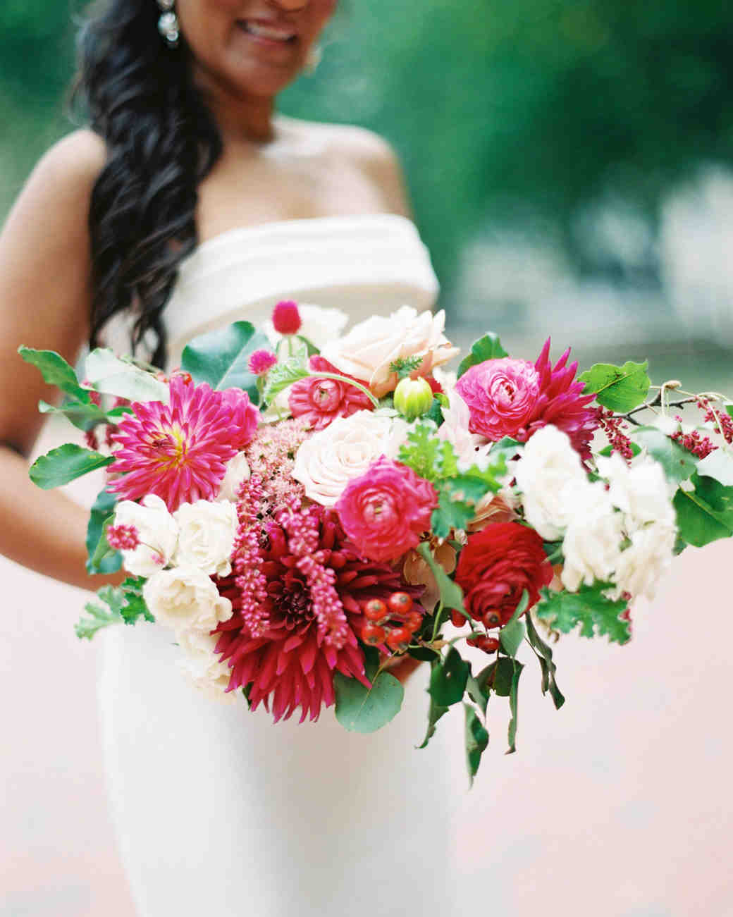 pink and red wedding bouquet