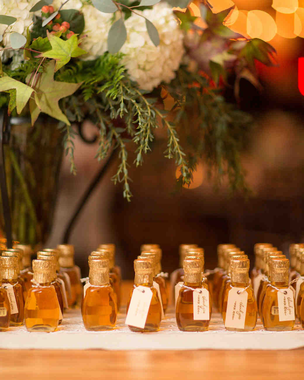 34 festive fall wedding favor ideas martha stewart weddings mini maple syrups junglespirit Gallery