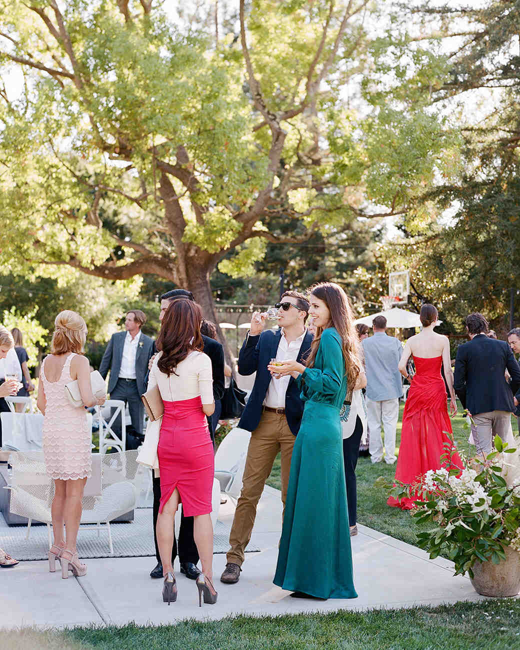 fall wedding guests emerald green