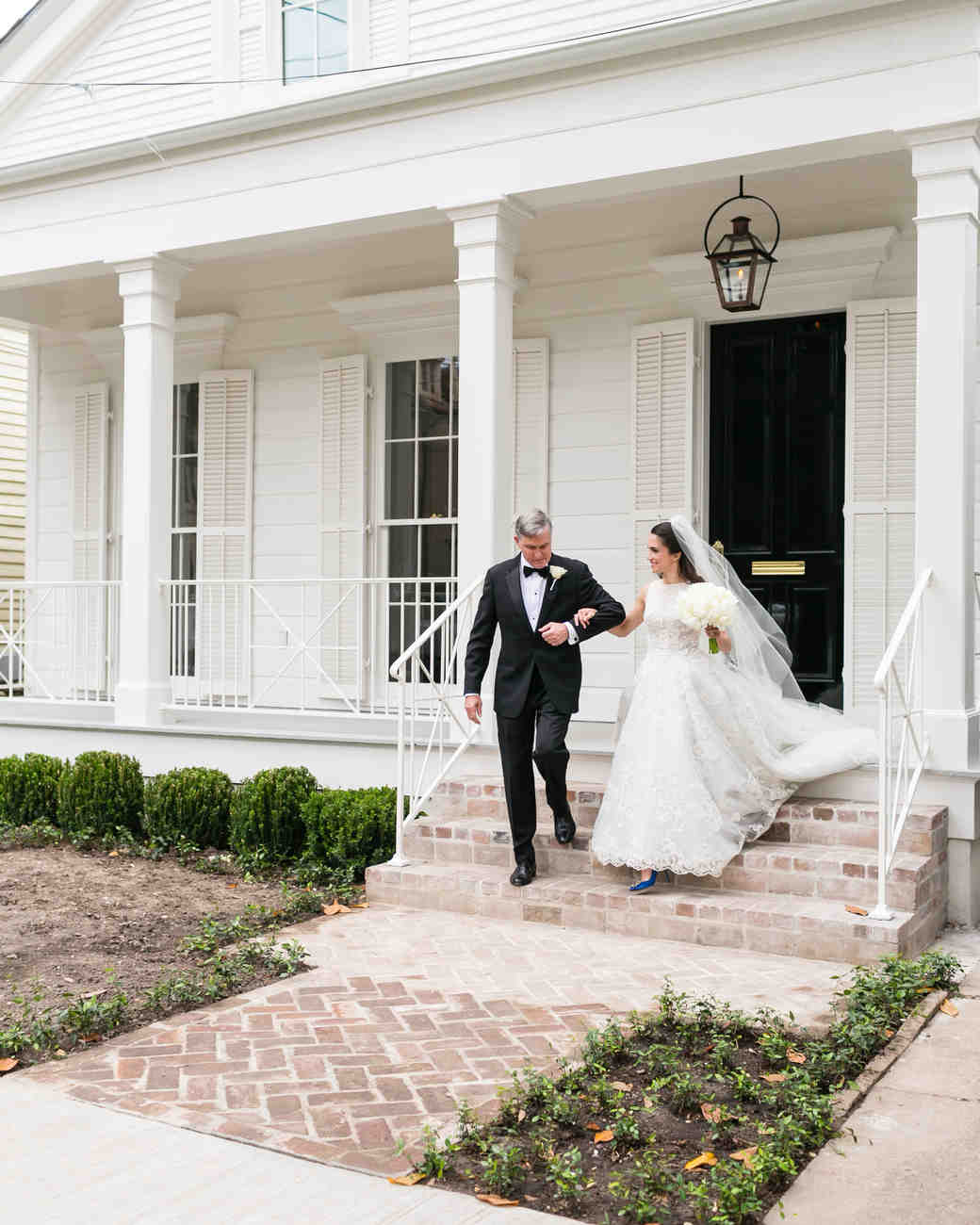 Father-Daughter Wedding Photos, Exiting House Together