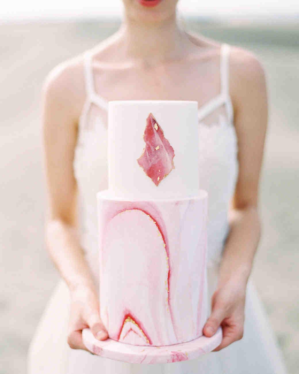 pink marble wedding cake