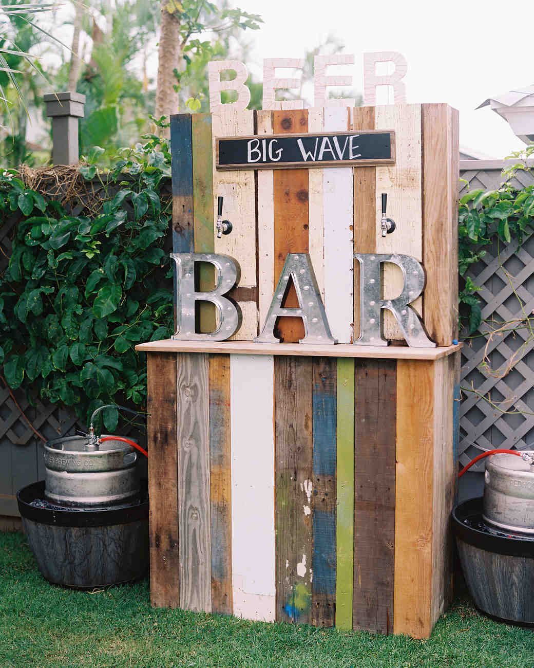 reclaimed wood wedding bar