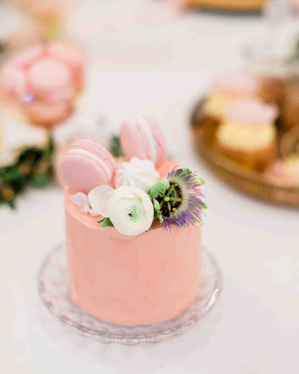 pink floral individual cakes