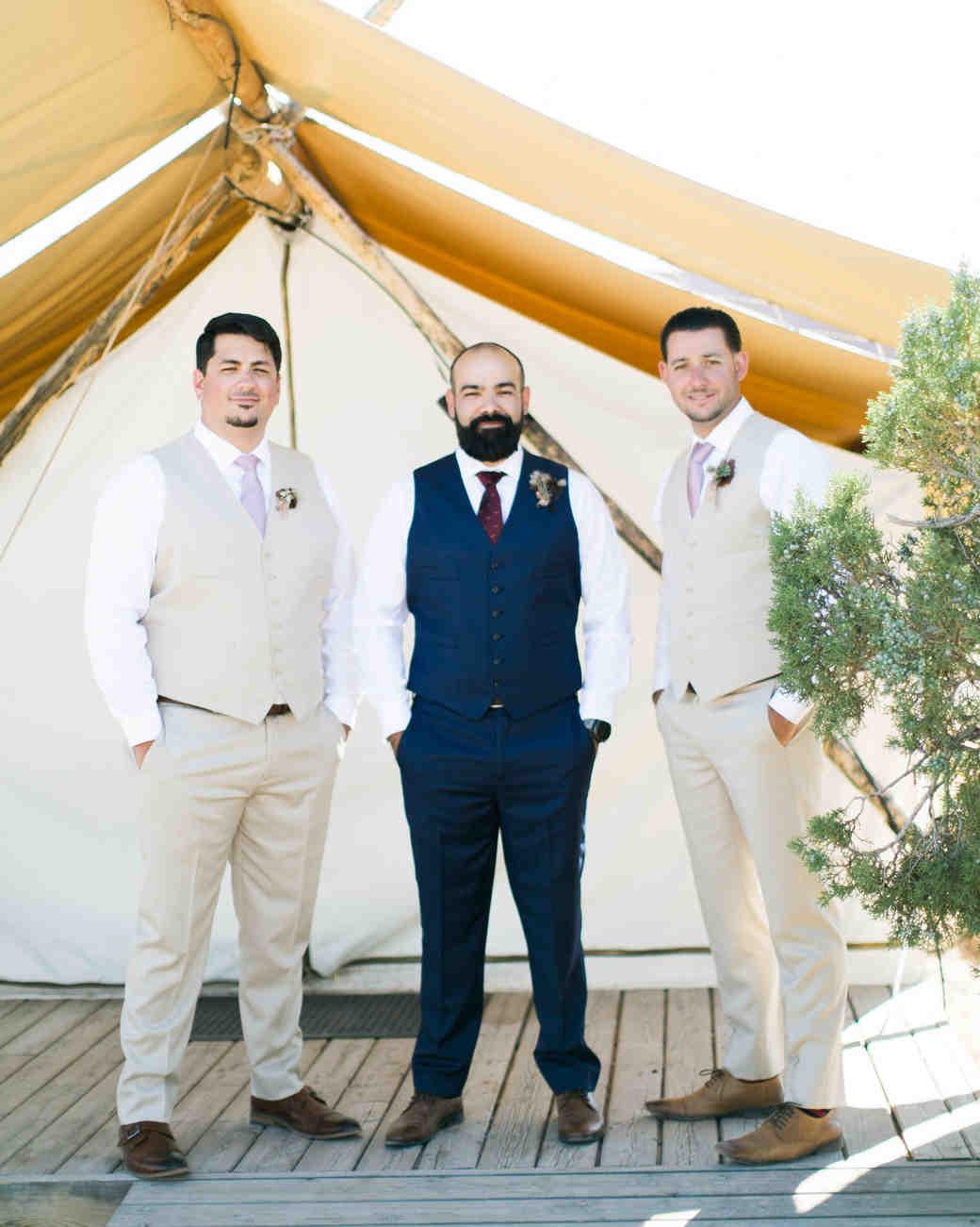 jeanette david wedding desert groom and groomsmen