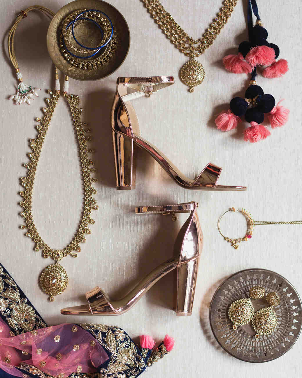 bridal accessories flatlay