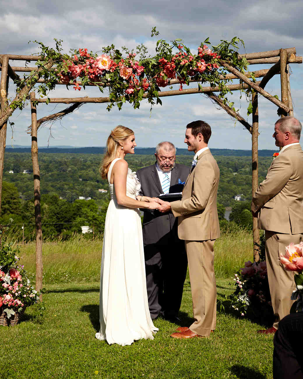 Wooden Wedding Arch with Pink and Red Flowers