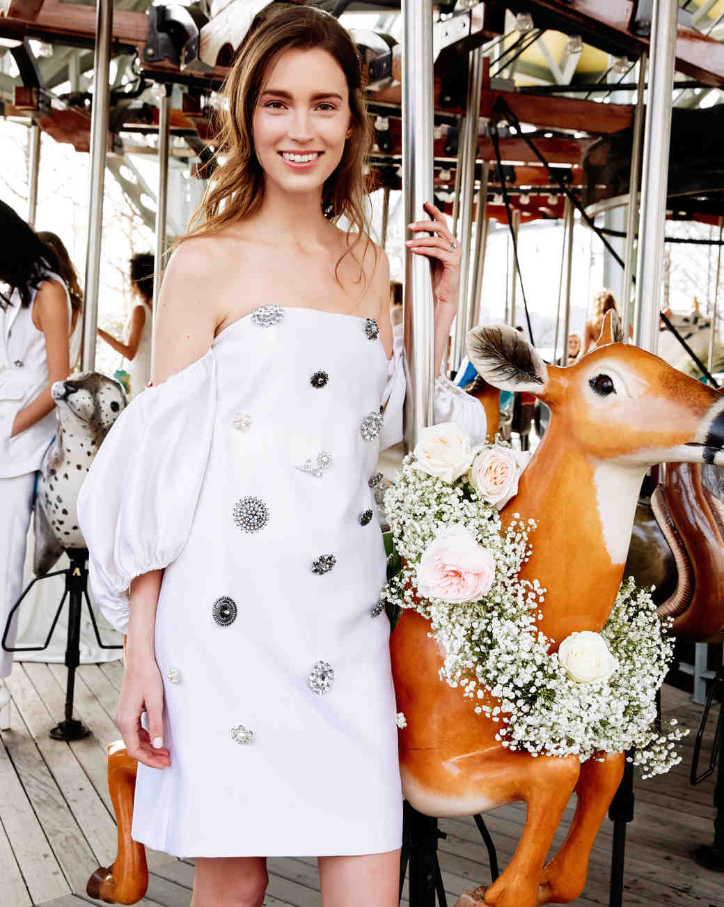 lela rose wedding dress bridal market spring 2020 short drop sleeve silver appliques