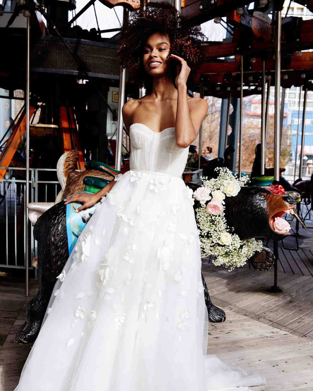 lela rose wedding dress bridal market spring 2020 semi-sweetheart ruching bodice tulle skirt