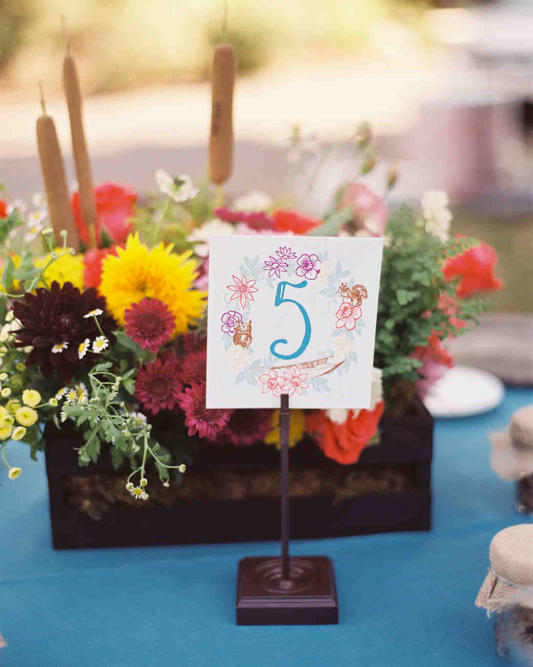 floral wedding table number