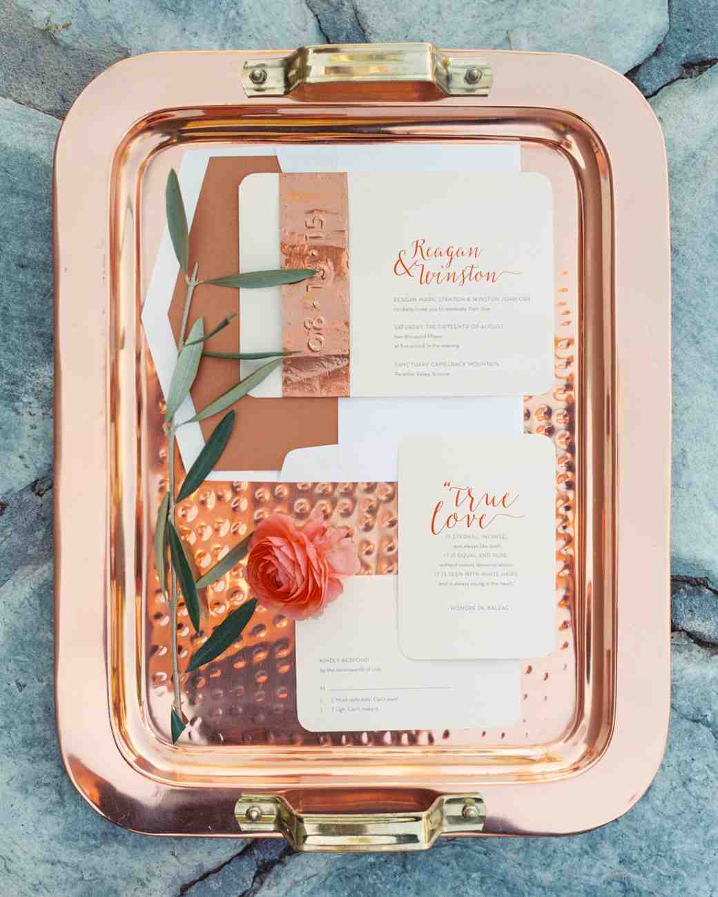 Copper foil and calligraphy wedding invitation suite