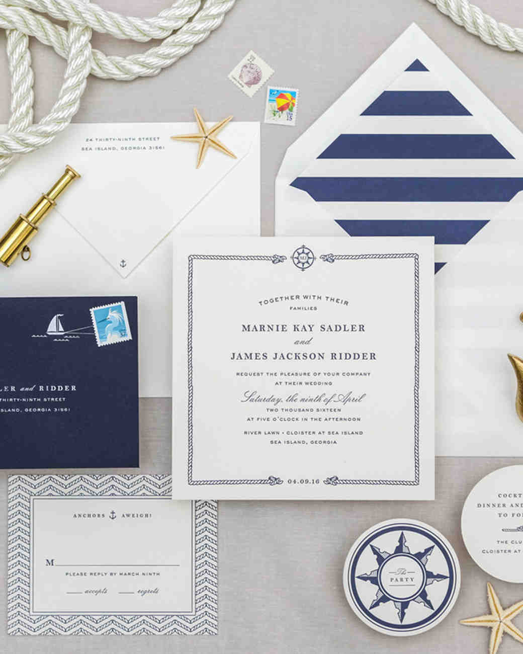 nautical invitation set with blue sea sailboat design elements