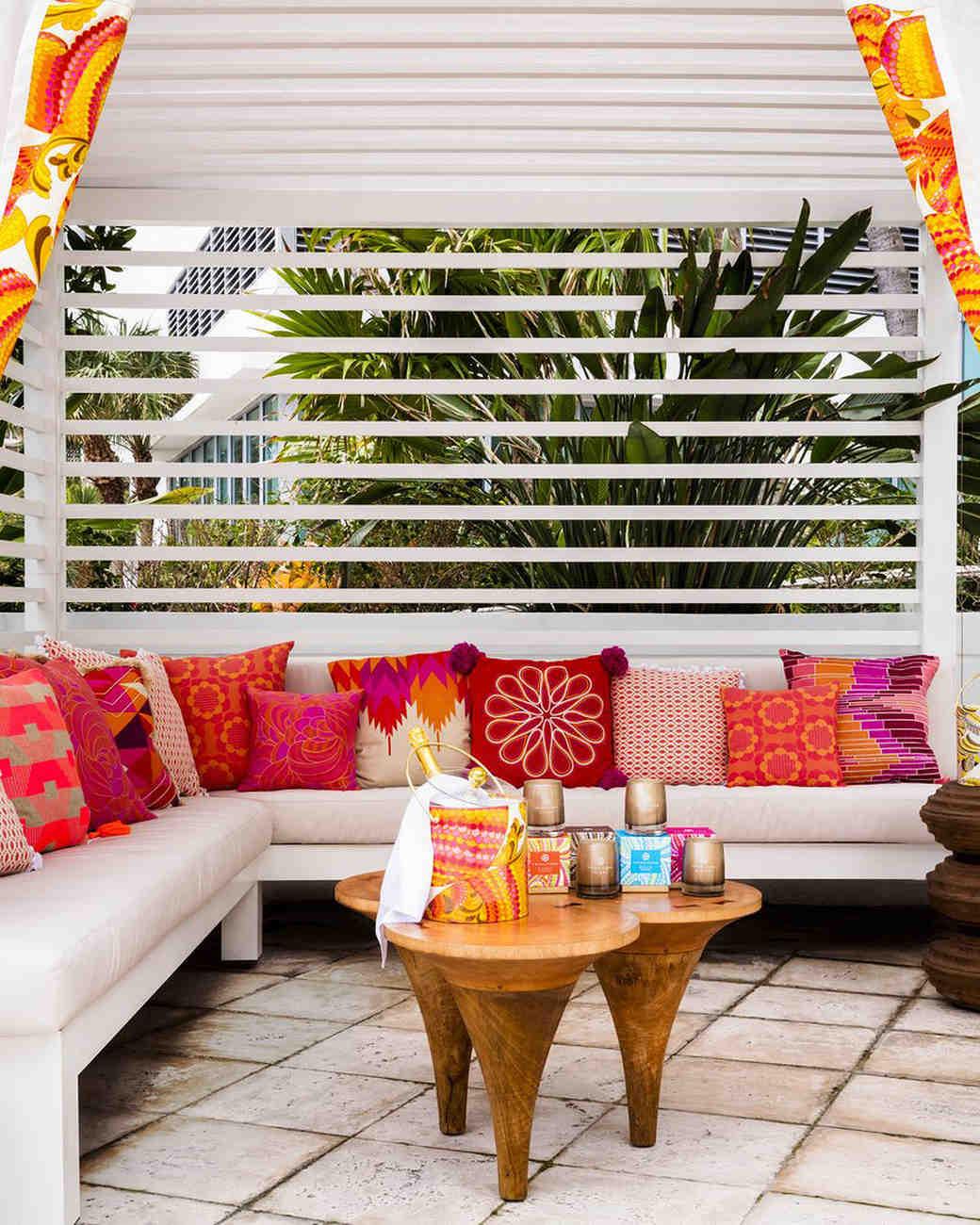 new venue outdoor cabana bright pillows