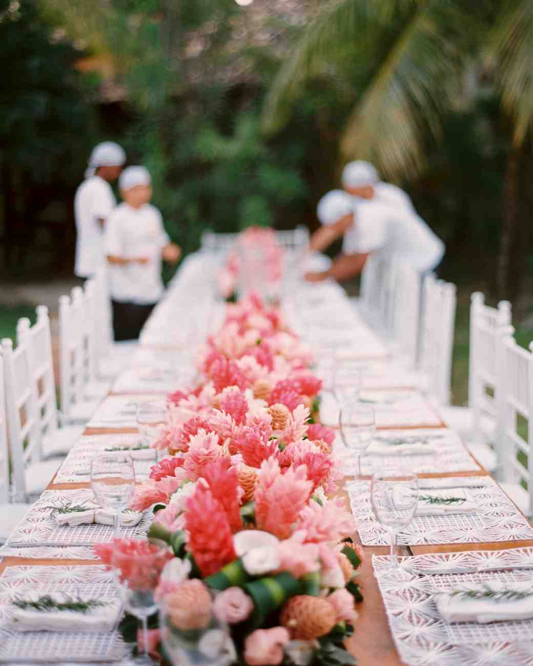 pink floral centerpiece table