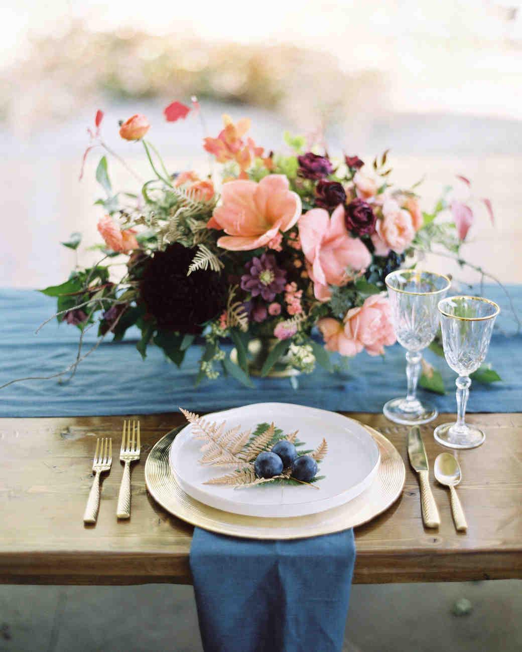 floral pink centerpiece blue