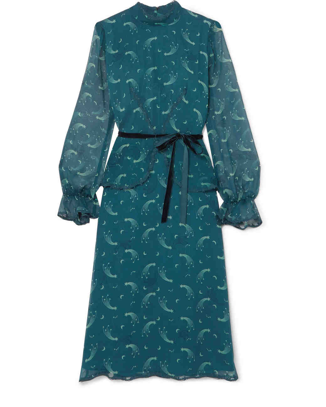 blue long sleeve printed gown