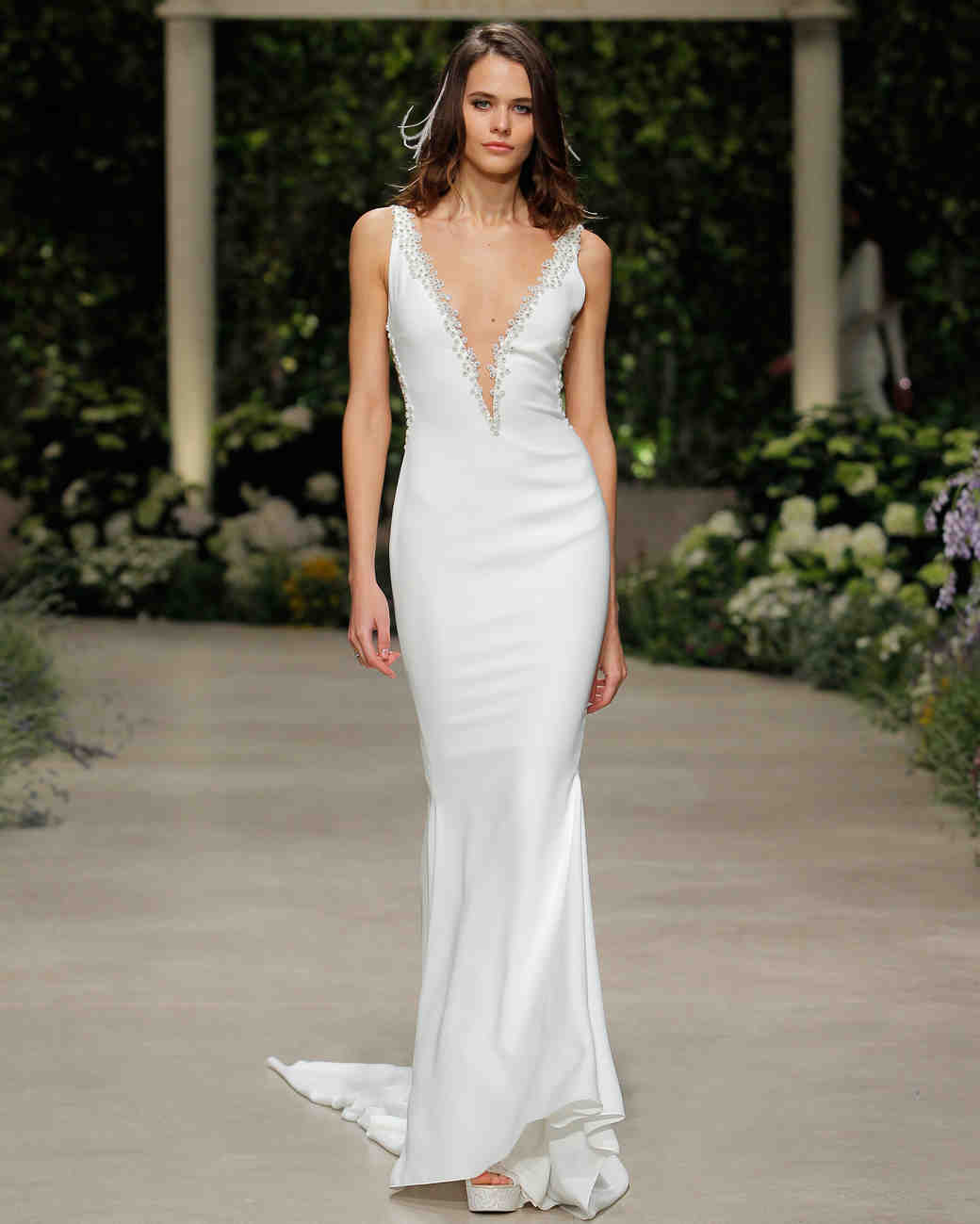 pronovias wedding dress spring 2019 v-neck sheath
