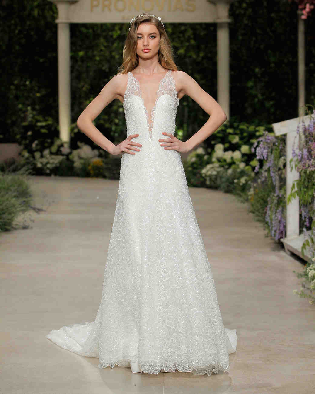 pronovias wedding dress spring 2019 v-neck embroidered