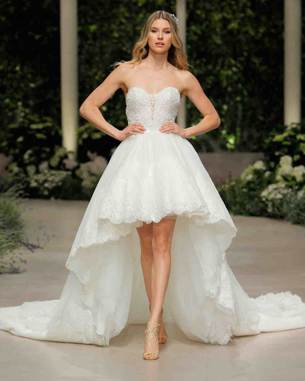 pronovias wedding dress spring 2019 sweetheart sleeveless high-low