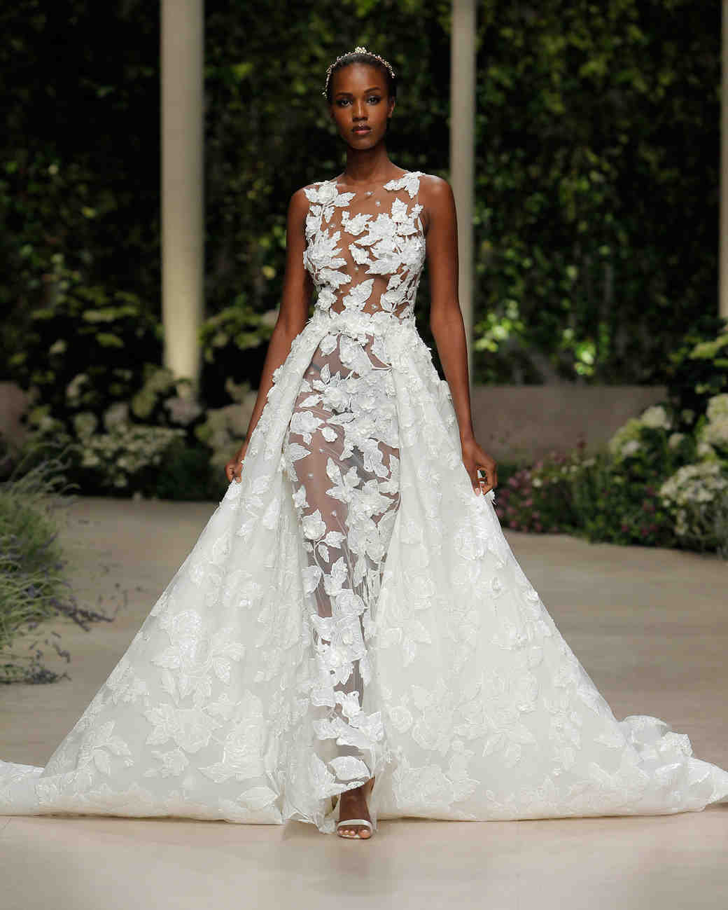pronovias wedding dress spring 2019 illusion sheer embroidered