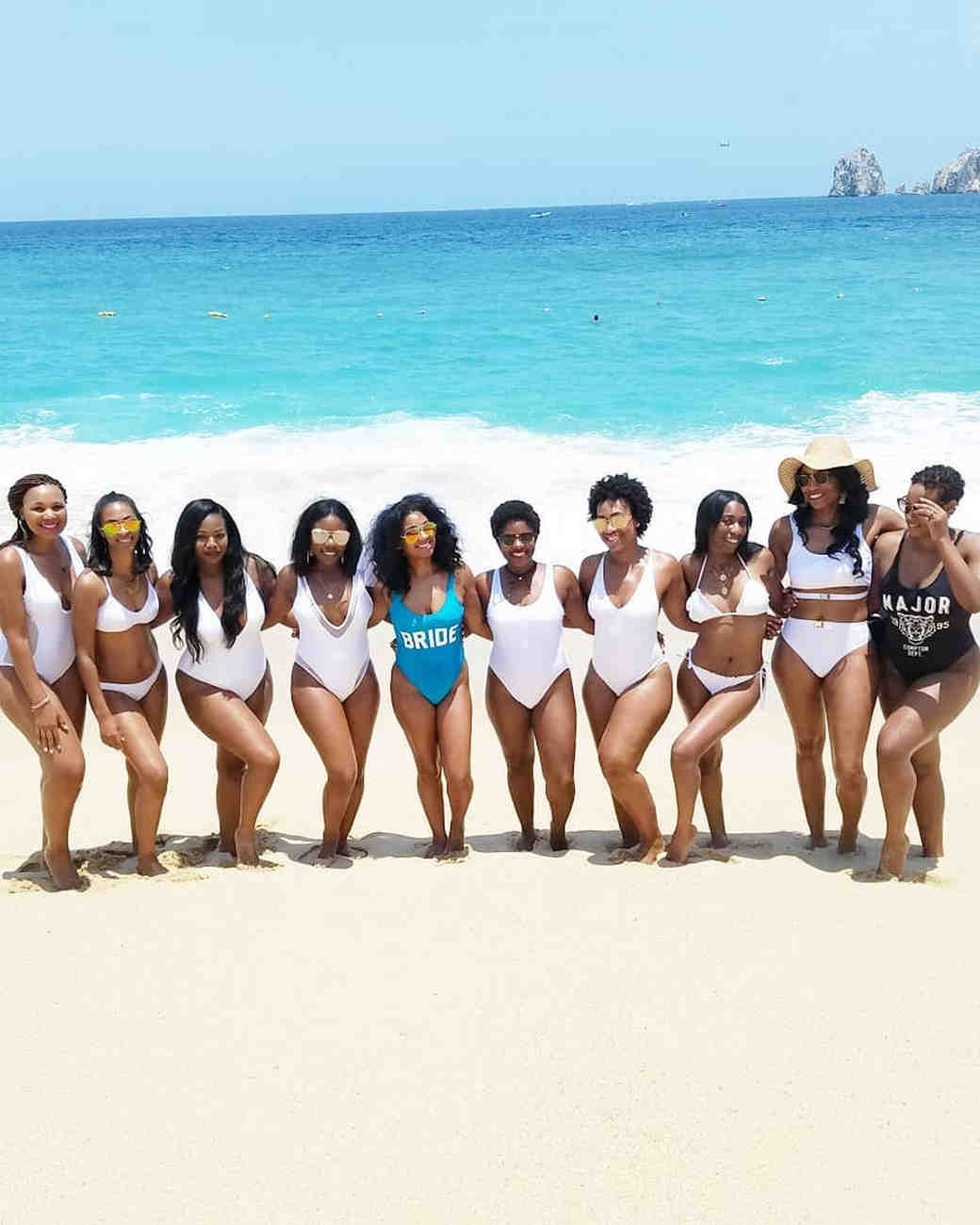 real brides bachelorette group beach