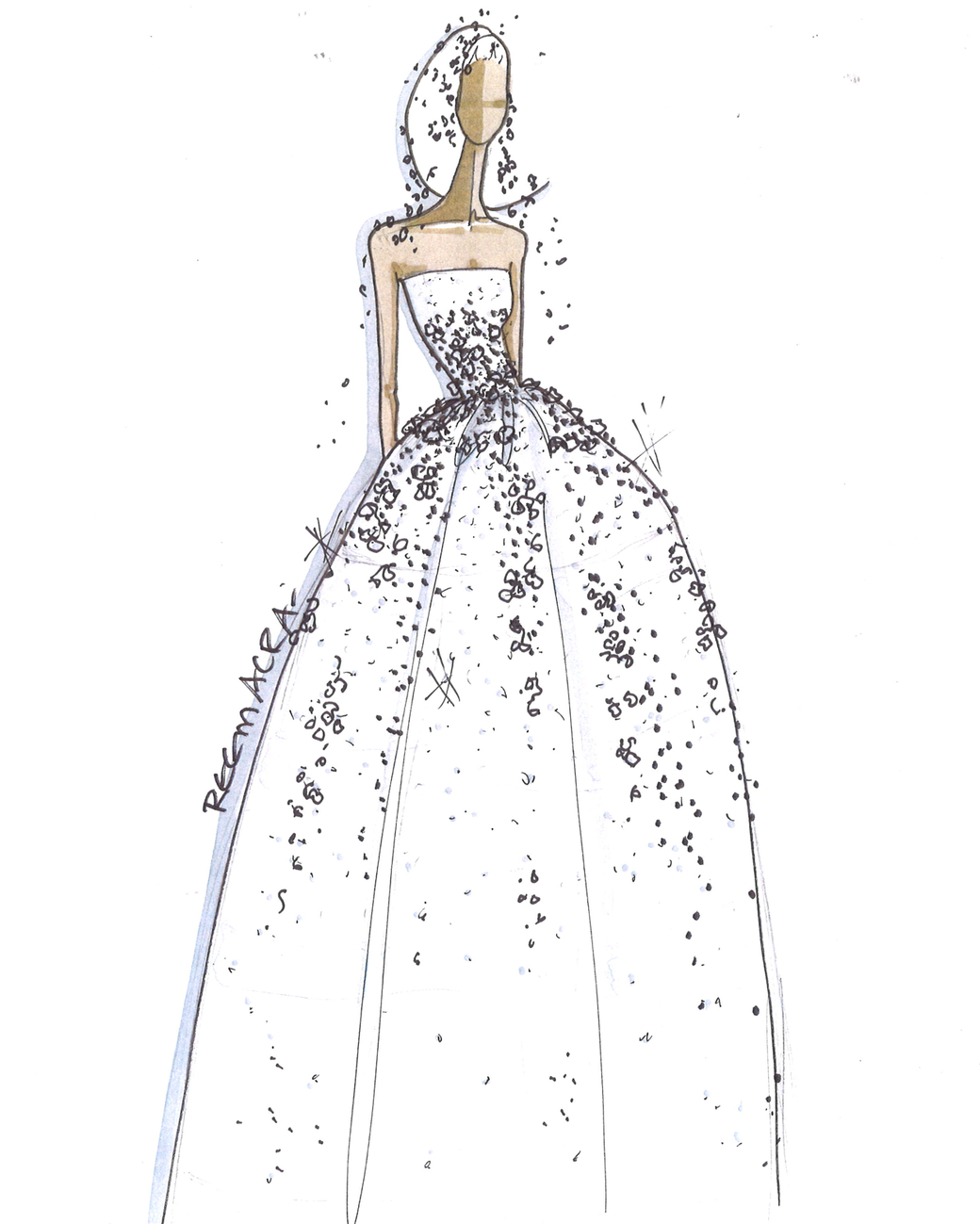 reem acra wedding dress sketch