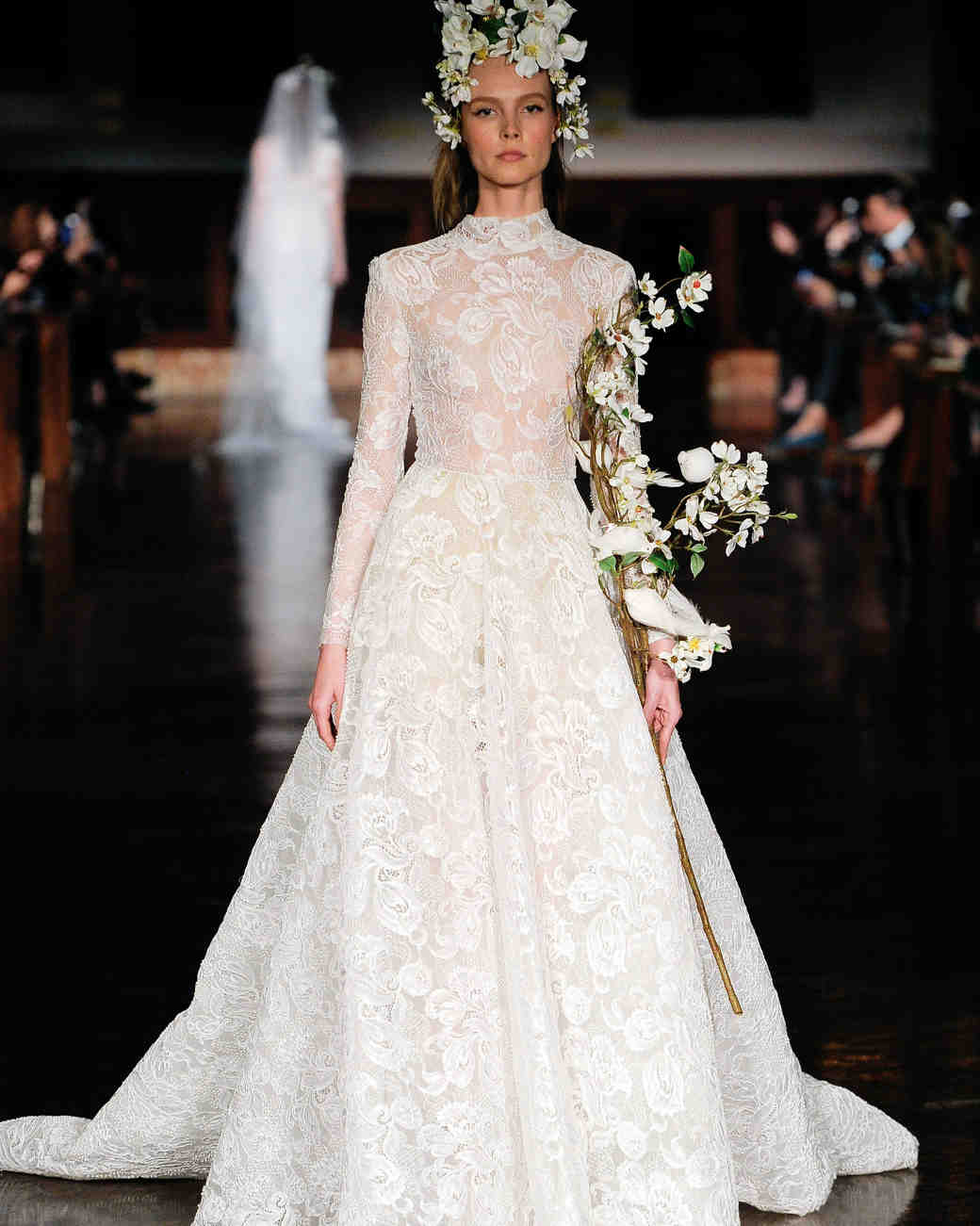 reem acra wedding dress spring 2019 long sleeves high neck lace
