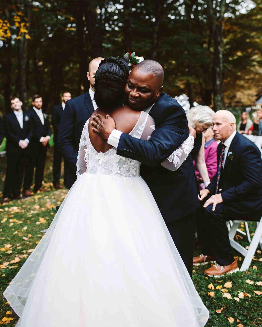 rivka aaron wedding father bride hugging
