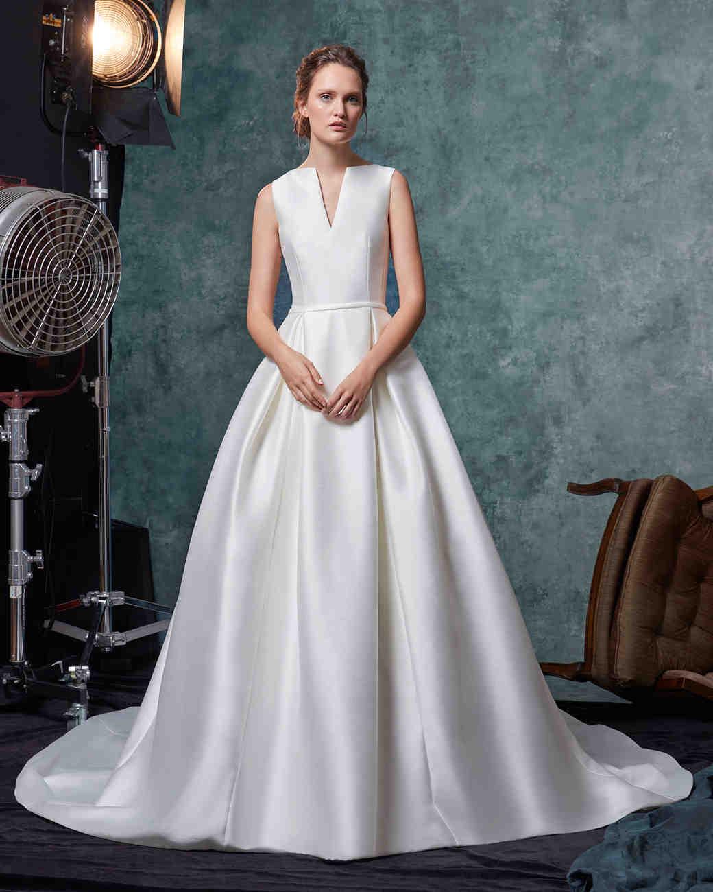 sareh nouri dress fall 2019 notched high neck ball gown
