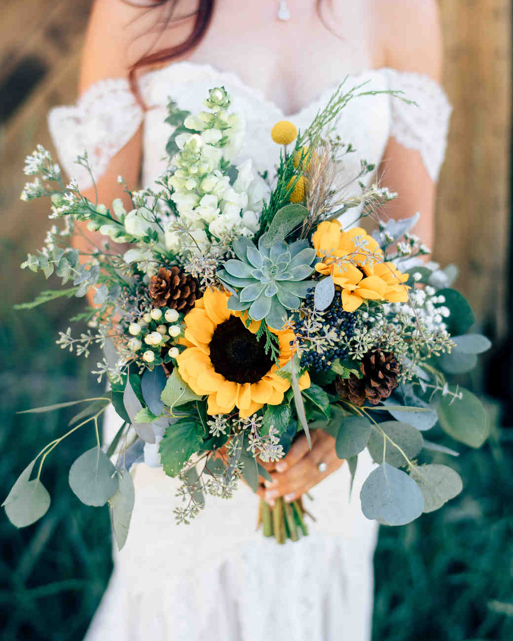 sunflower bouquet with pinecones