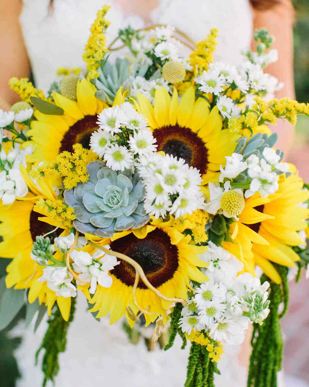 sunflower bouquet with succulents